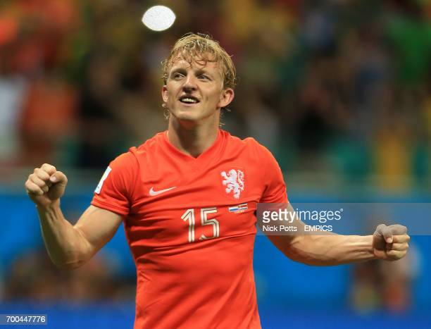 Netherland's Dirk Kuyt celebrates after the penalty shootout