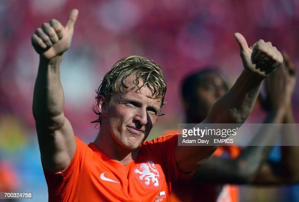 Netherlands' Dirk Kuyt celebrates at the end of the game