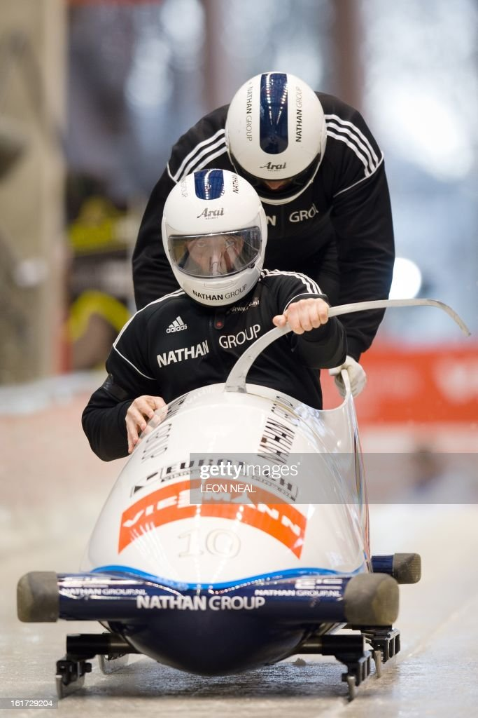 Netherland's Edwin van Calker takes part in a Men's Bobsleigh training run at the Sanki Sliding Centre, one of the 2014 Winter Olympics venues, at Rzhanaya Polyana, 60 km northeast of the Black Sea city of Sochi, on February 14, 2013. With a year to go until the Sochi 2014 Winter Games, construction work continues as tests events and World Championship competitions are underway.