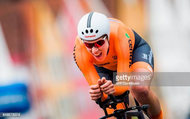 Netherland's Ellen Van Dijk competes during the women elite individual time trial at the UCI Cycling Road World Championships on September 19 2017 in...