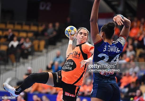 Netherlands' Estavana Polman prepares to throw the ball during the Women's European Handball Championship Group B match between Netherlands and...