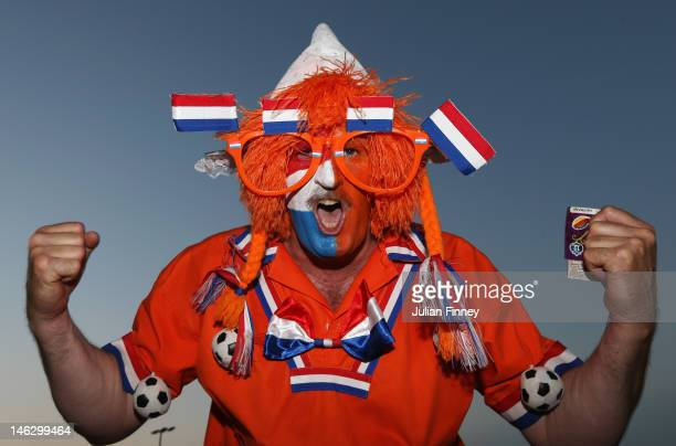 Netherlands fan enjoys the atmosphere prior to the UEFA EURO 2012 group B match between Netherlands and Germany at Metalist Stadium on June 13 2012...