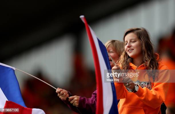 Netherlands fans look on ahead of the UEFA Women's Euro 2017 Group A match between Netherlands and Denmark at Sparta Stadion on July 20 2017 in...