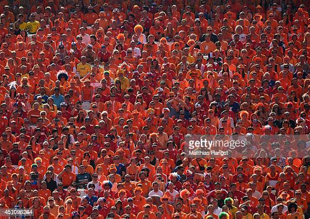Netherlands fans look on during the 2014 FIFA World Cup Brazil Group B match between the Netherlands and Chile at Arena de Sao Paulo on June 23 2014...