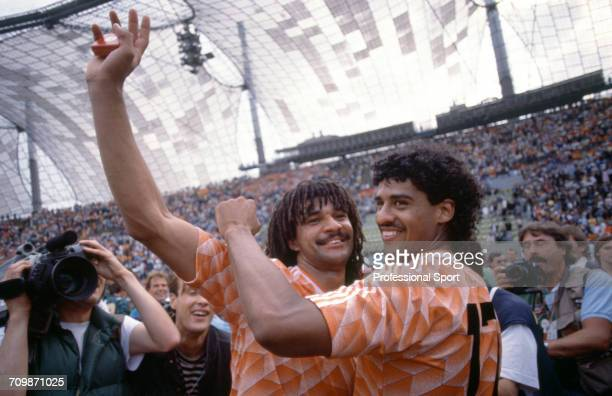 Netherlands football team captain Ruud Gullit and Frank Rijkaard celebrate in the Olympiastadion after Netherlands beat the Soviet Union 20 to become...