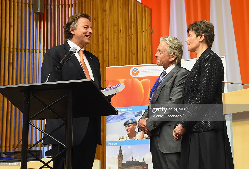Netherlands Foreign Minister <a gi-track='captionPersonalityLinkClicked' href=/galleries/search?phrase=Bert+Koenders&family=editorial&specificpeople=2358914 ng-click='$event.stopPropagation()'>Bert Koenders</a>, UN Messenger of Peace/actor <a gi-track='captionPersonalityLinkClicked' href=/galleries/search?phrase=Michael+Douglas&family=editorial&specificpeople=171111 ng-click='$event.stopPropagation()'>Michael Douglas</a>, and High Representative for Disarmament Affairs Angela Kane take part in the United Nations' 'Nuclear Disarmament, Non-Proliferation, And Energy: Fresh Ideas For The Future' symposium at United Nations on April 28, 2015 in New York City.