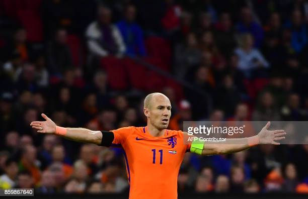 Netherlands' forward Arjen Robben reacts during their FIFA World Cup 2018 football Group A qualification match between the Netherlands and Sweden at...