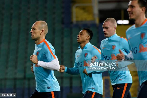 Netherland's forward Arjen Robben takes part in a training session on the eve of the FIFA World Cup 2018 qualifier football match between Bulgaria...