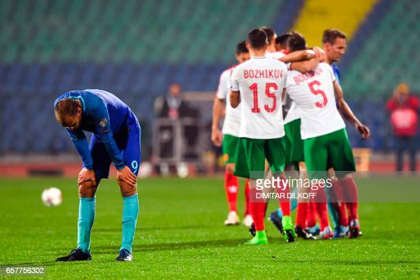 TOPSHOT Netherland's forward Bas Dost reacts after losing the FIFA World Cup 2018 qualification football match between Bulgaria and Netherland in...