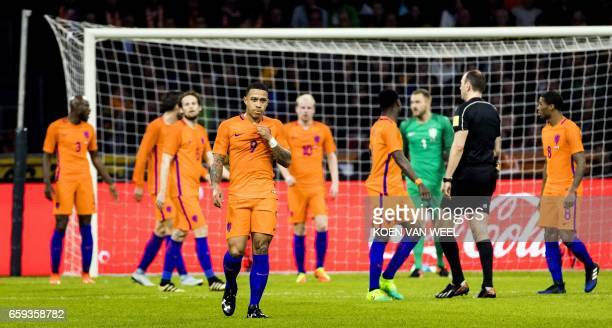 Netherlands' forward Memphis Depay reacts during the friendly football match between The Netherlands and Italy at the Arena Stadium on March 28 2017...
