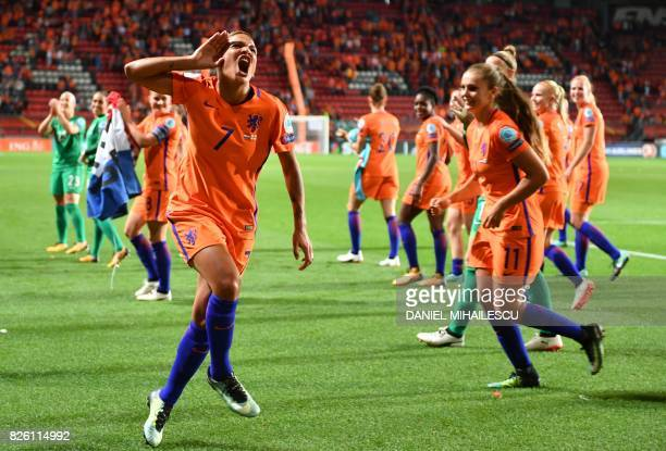 Netherlands' forward Shanice van de Sanden celebrate after winning during the UEFA Womens Euro 2017 football tournament semifinal match between...