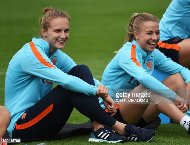 Netherland's forward Vivianne Miedema attends a training session in Zeist The Netherlands on July 25 a day after the team won the UEFA Women's Euro...