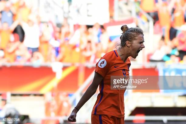 Netherlands' forward Vivianne Miedema celebrates after scoring a goal during the UEFA Womens Euro 2017 football tournament final match between...