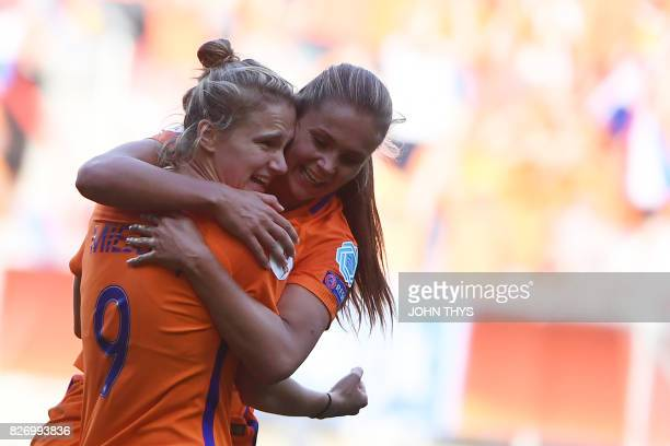 Netherlands' forward Vivianne Miedema celebrates with Netherlands' midfielder Lieke Martens after scoring a goal during the UEFA Womens Euro 2017...