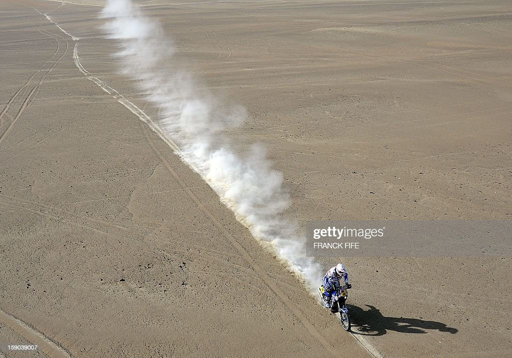 Netherlands' Frans Verhoeven rides his Yamaha during the Stage 2 of the Dakar 2013 in Pisco, Peru, on January 6, 2013. The rally will take place in Peru, Argentina and Chile from January 5 to 20.