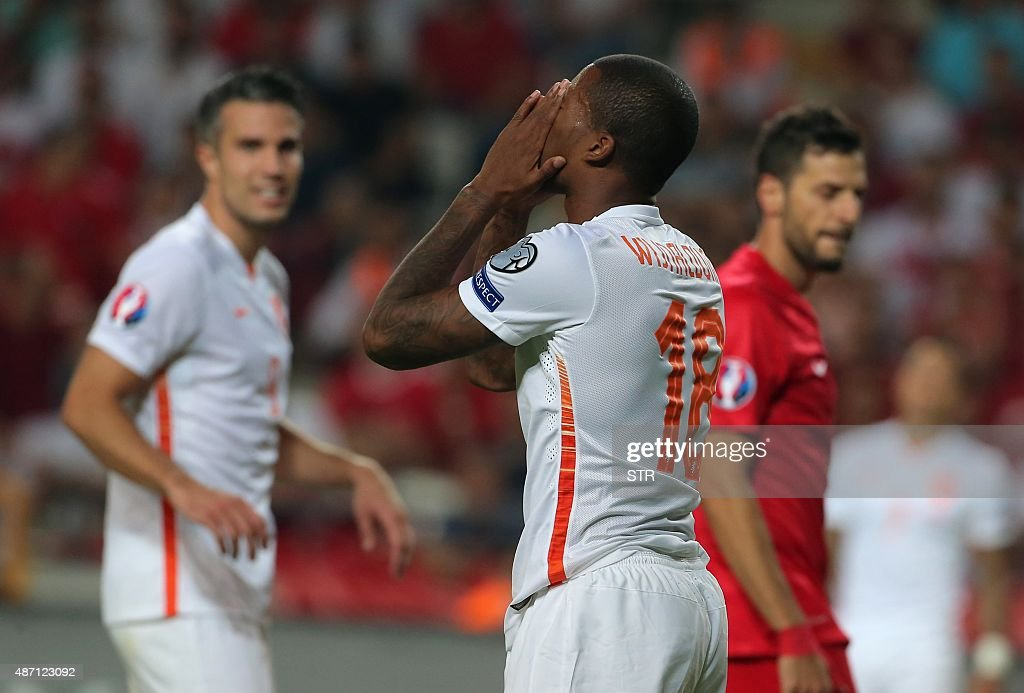 Netherland's Georgino Wijnaldum gestures at the end of the Euro 2016 qualifying match between Turkey and Netherlands at the Arena Stadium in Konya on...