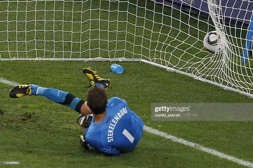 Netherlands' goalkeeper Maarten Stekelenburg looks at the ball after conceding a goal by Slovakia's striker Robert Vittek (unseen) during the 2010 World Cup round of 16 football match Netherlands vs. Slovakia on June 28, 2010 at Moses Mabhida stadium in Durban. Netherlands won 2-1. NO