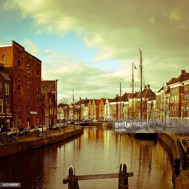 Netherlands, Groningen, Hoge der Aa, River in city