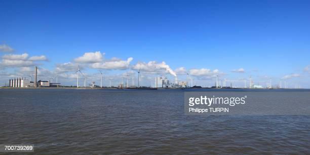 Netherlands, Groningen province, Eemshaven or Ems Harbour is a seaport. Ems estuary. Eemshaven Electrabel poxer plant. GDF Suez subsidiary.