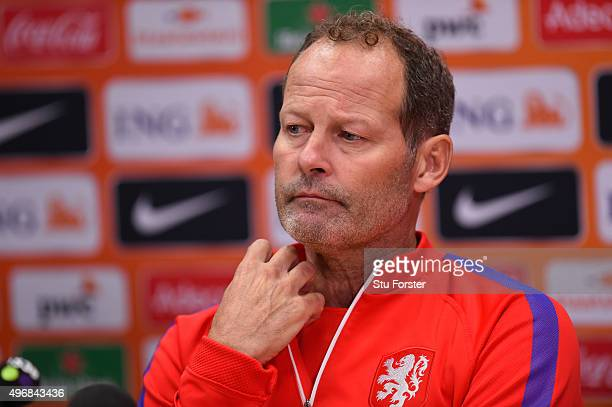 Netherlands head coach Danny Blind faces the press during the Netherlands press conference ahead of their friendly international against Wales at...