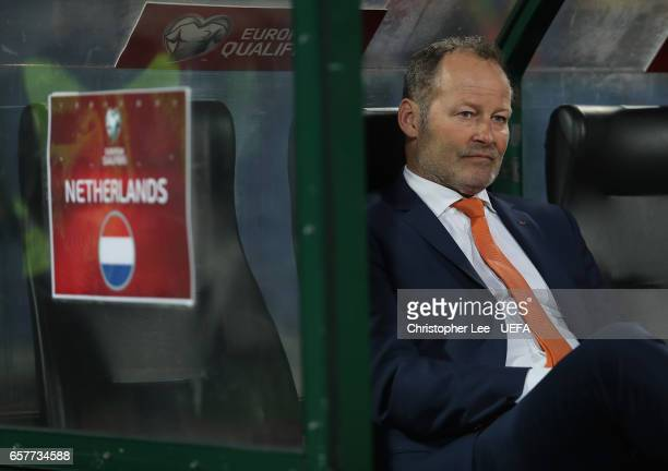 Netherlands Head Coach Danny Blind on the bench before kick off during the FIFA 2018 World Cup Qualifier Group A match between Bulgaria and...