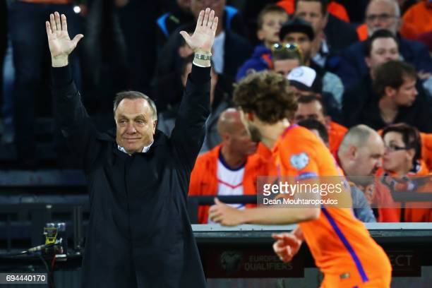 Netherlands Head Coach / Manager Dick Advocaat signals to his team during the FIFA 2018 World Cup Qualifier between the Netherlands and Luxembourg...
