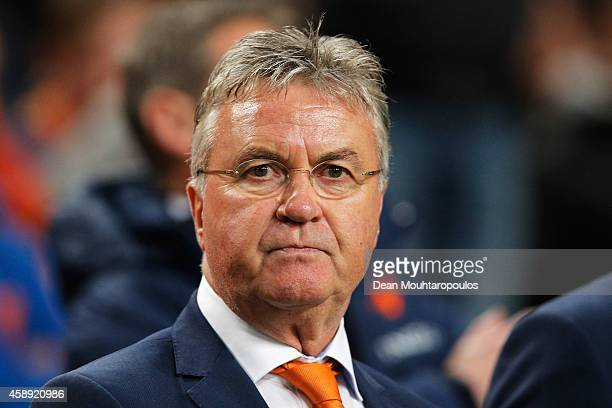 Netherlands Head Coach / Manager Guus Hiddink looks on prior to the international friendly match between Netherlands and Mexico held at the Amsterdam...