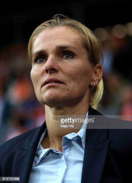 Netherlands head coach Sarina Wiegman looks on ahead of the UEFA Women's Euro 2017 Group A match between Netherlands and Denmark at Sparta Stadion on...