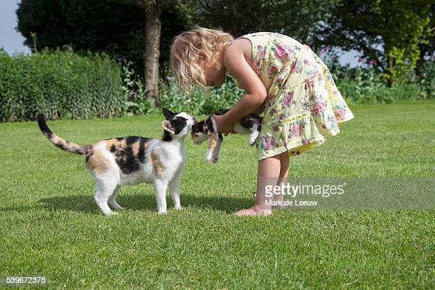 Netherlands, Helvoirt, Little girl (2-3) playing with cats in garden