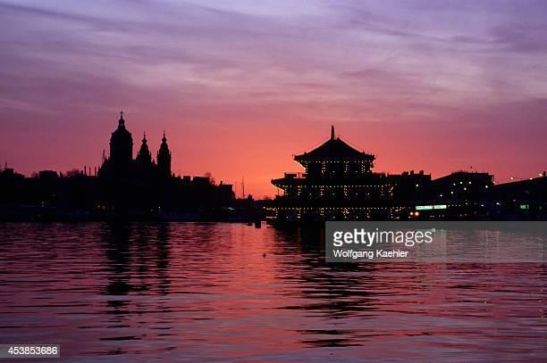 Netherlands Holland Amsterdam Sunset Chinese Floating Restaurant