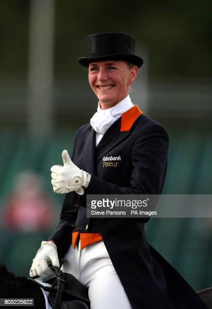 Netherlands' Imke SchellekensBartels riding Hunter Douglas Sunrise gives the thumbs up during day one of The European Show Jumping and Dressage...