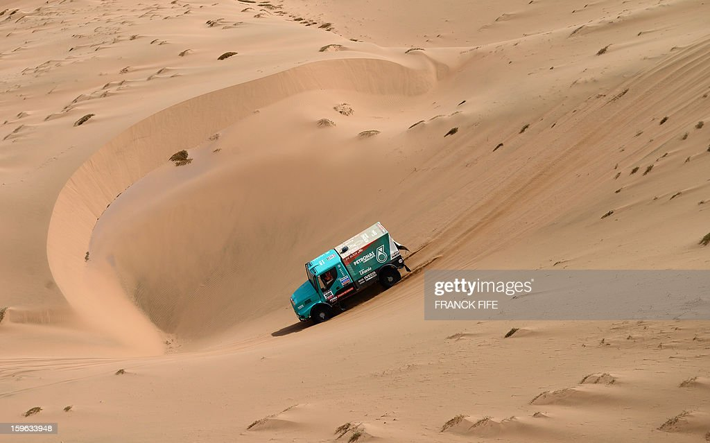 Netherlands' Ivecco driver Gerard De Rooy competes during the Stage 12 of the 2013 Dakar Rally between Fiambala in Argentina and Copiapo in Chile, on January 17, 2013. The rally is taking place in Peru, Argentina and Chile from January 5 to 20. AFP PHOTO / FRANCK FIFE