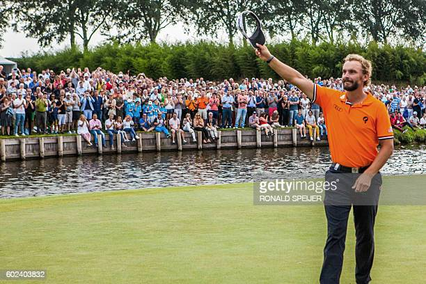 Netherlands' Joost Luiten gestures during the final day of the KLM Open golf tournament in Spijk on September 11 2016 / AFP / ANP / Ronald Speijer /...