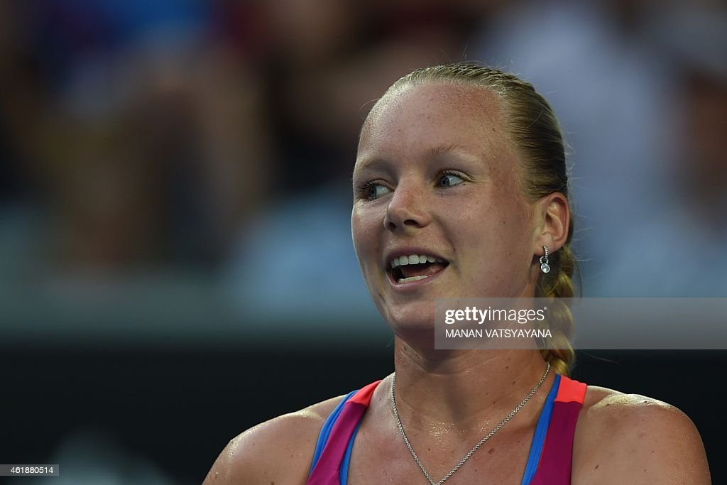 Netherland's <a gi-track='captionPersonalityLinkClicked' href=/galleries/search?phrase=Kiki+Bertens&family=editorial&specificpeople=7945371 ng-click='$event.stopPropagation()'>Kiki Bertens</a> reacts as she plays against Canada's Eugenie Bouchard during their women's singles match on day three of the 2015 Australian Open tennis tournament in Melbourne on January 21, 2015.