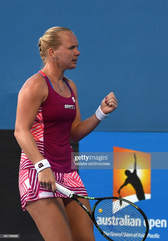 Netherland's <a gi-track='captionPersonalityLinkClicked' href=/galleries/search?phrase=Kiki+Bertens&family=editorial&specificpeople=7945371 ng-click='$event.stopPropagation()'>Kiki Bertens</a> reacts during her women's singles match against Australia's Daria Gavrilova on day one of the 2015 Australian Open tennis tournament in Melbourne on January 19, 2015.