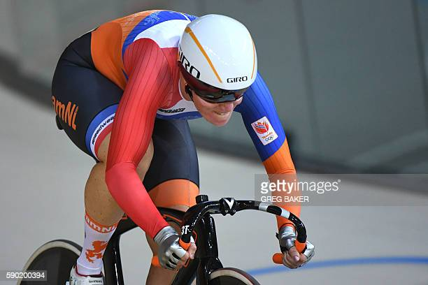 Netherlands' Kirsten Wild competes in the Women's Omnium Flying Lap track cycling event at the Velodrome during the Rio 2016 Olympic Games in Rio de...