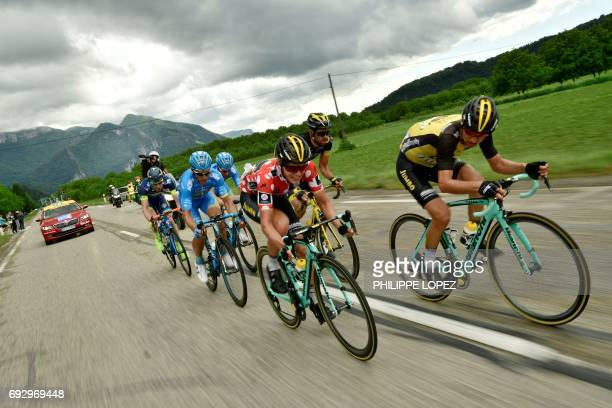 Netherlands' Koen Bouwman second best climber's polka dot jersey rides during the 184 km third stage of the 69th edition of the Criterium du Dauphine...