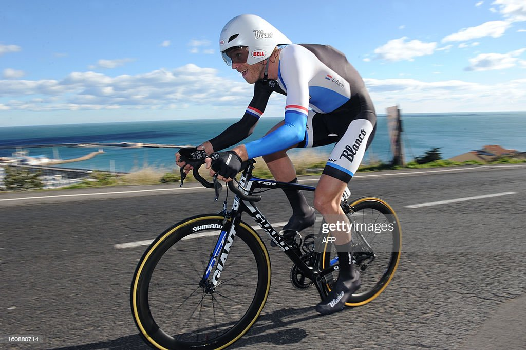Netherland's Lars Boom competes during the second stage, a 24km individual time trial, of the 40th edition of the Tour Mediterraneen cycling race from Cap d'Agde to Sete on February 7, 2013 in Sete, southern France. Boom won the stage and is a new leader of the race.