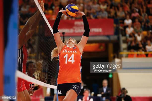 Netherland's Laura Dijkema sets the ball during the volleyball game Dominican Republic versus the Netherlands on July 7 2017 at the Grand Prix in...