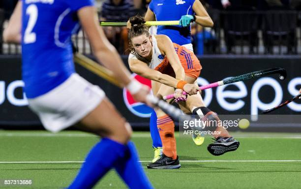 TOPSHOT Netherlands' Lidewij Welten hits the ball during the Women's 2017 Rabo EuroHockey Championships field hockey match between the Netherlands...