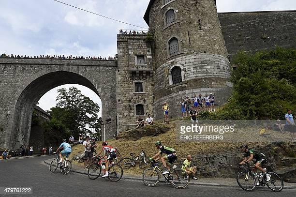 Netherlands' Lieuwe Westra Belgium's Thomas De Gendt France's Frederic Brun and France's Perrig Quemeneur ride in a breakaway at the Namur citadel...