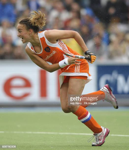Netherland's Maartje Paumen celebrates the opening goal against Australia during the Rabo FIH Women's Champions Trophy match at the Wagener Stadium...