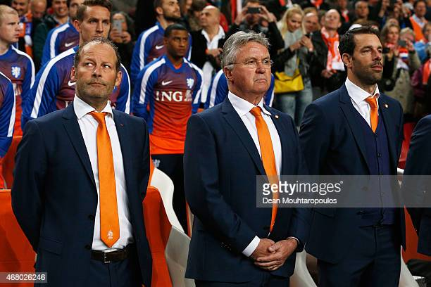 Netherlands Manager / Head Coach Guus Hiddink and his assistants Danny Blind and Ruud van Nistelrooy look on during the UEFA EURO 2016 qualifier...