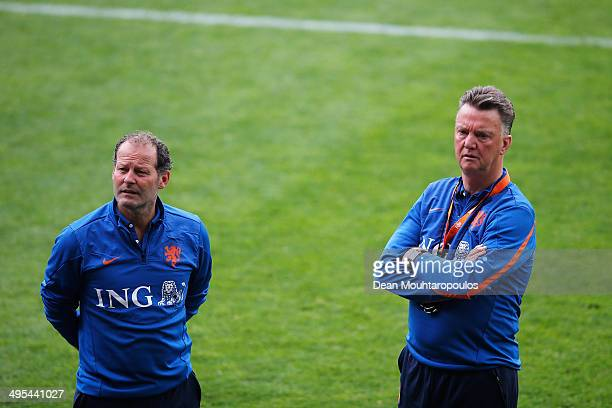 Netherlands Manager Louis van Gaal and his Assistant Danny Blind speak during the Netherlands training session held at the AFAS Stadion on June 3...