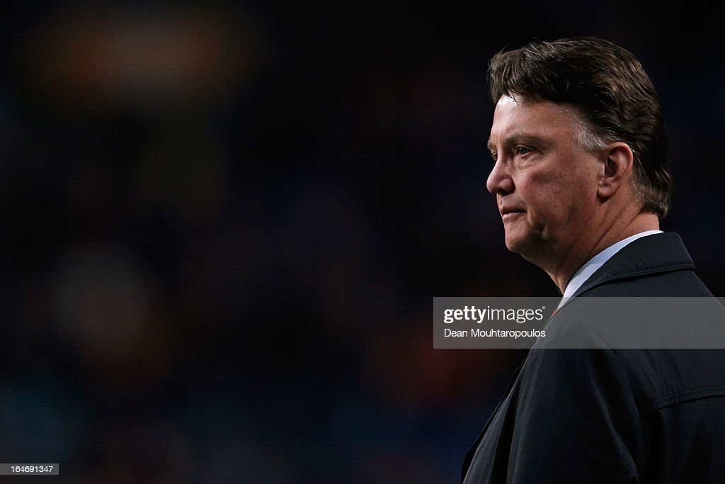 Netherlands Manager, Louis van Gaal looks on during the the Group 4 FIFA 2014 World Cup Qualifier match between Netherlands and Romania at Amsterdam Arena on March 26, 2013 in Amsterdam, Netherlands.