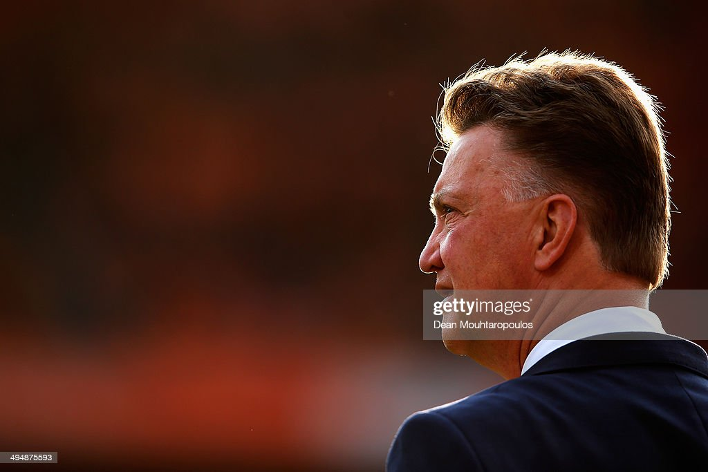 Netherlands Manager Louis van Gaal looks on prior to the International Friendly match between Netherlands and Ghana at De Kuip on May 31 2014 in...