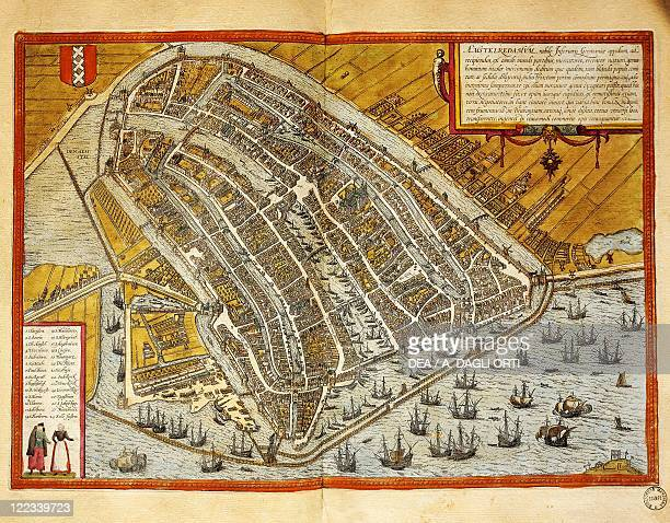 Netherlands Map of Amsterdam from Civitates Orbis Terrarum by Georg Braun and Franz Hogenberg engraving