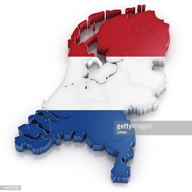 Netherlands map with flag
