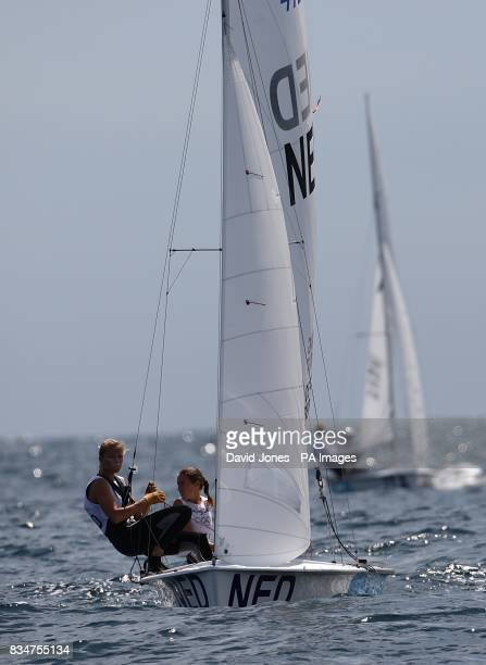 Netherland's Marcelien de Koning and Lobke Berkhout in action during the Women's 470 Opening Series in Qingdao during the 2008 Olympic Games in...