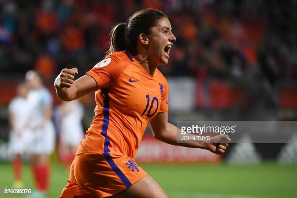 Netherlands' midfielder Danielle van de Donk celebrates after scoring a goal during the UEFA Womens Euro 2017 football tournament semifinal match...